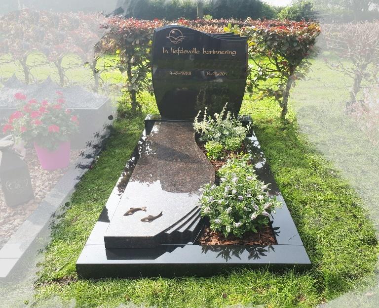 Granieten grafmonument met brons