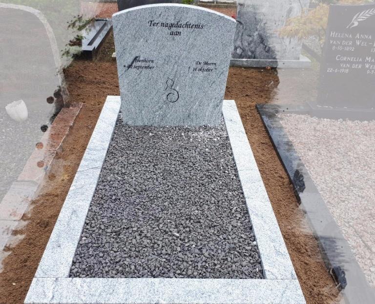 Grafsteen met grind