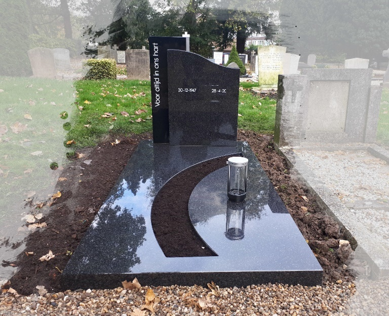 Grafsteen Impala Jasberg met zwart graniet