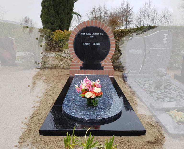 grafsteen van baksteen met graniet