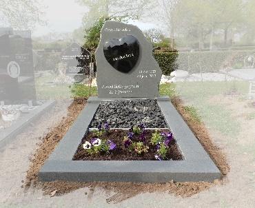 Grafsteen met verheven hart Wijk bij Duurstede