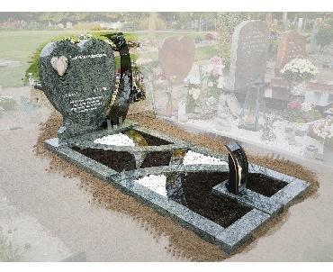 Grafsteen met glas, foto, lantaarn en speciale tuinvakken