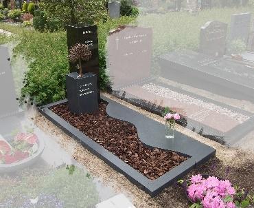 Grafstenen Mat en gepolijst zwart graniet met bronzen boom