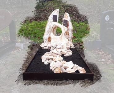 Grafsteen Zoetermeer brons ruwe stenen en cortenstaal