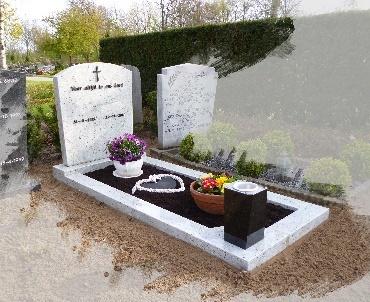 Grafsteen met vaas van graniet