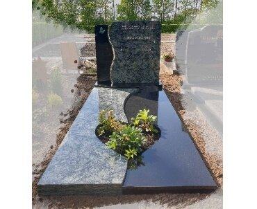 grafmonument met hart in liggend gedeelte