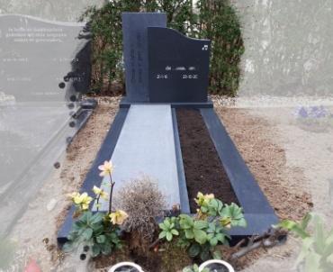 grafmonument zwart graniet gezoet