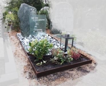 grafsteen cortenstaal met ruwe steen woerden