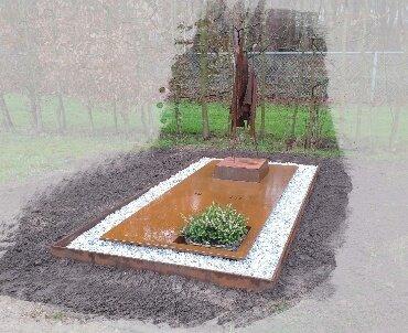 grafsteen cortenstaan met beeld