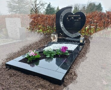 grafsteen hartvorm zwart