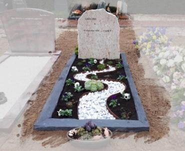 grafsteen met cortenstralen levensweg
