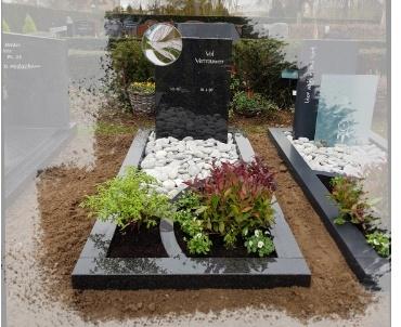 grafsteen met glas-in-lood