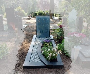 grafsteen met glas speciaal ontwerp
