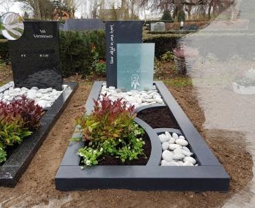 grafsteen met glas