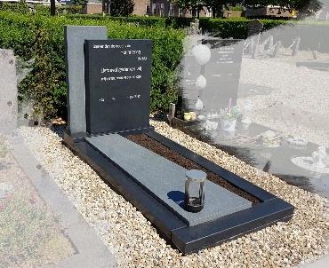 grafsteen met grijze elementen