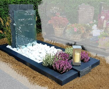 grafsteen met leisteen graniet rvs en een glasplaat