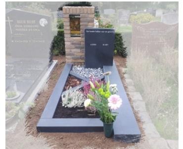 grafsteen met metselwerk