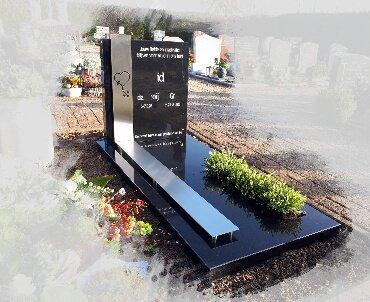 grafsteen met rvs baan