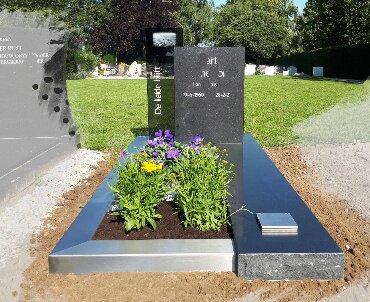 grafsteen met rvs en glas heerjansdam