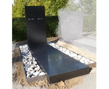 grafsteen met rvs en zwart graniet