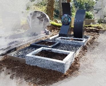 Grafsteen met speciaal glas en rvs