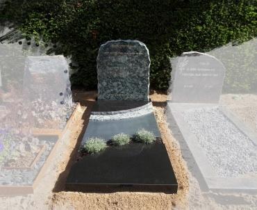 grafsteen Olive green en zwart graniet
