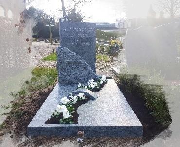 grafsteen olive green gezoet met bronzen vogel te de Meern