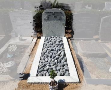 grafsteen ruw met bronze tekst