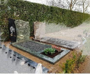grafsteen te Waarder olive green graniet met gravure