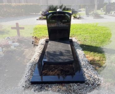 grafsteen toogvorm zwart met grijs impala graniet