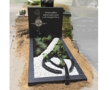 grafsteen zeist rvs afbeelding op diabase black. zwat graniet. donker gezoet