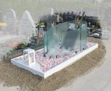 Grafsteen Wit RvS met gebogen glasplaten en lantaarn Nieuwveen