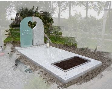 Grafsteen met hart van glas en steen Montfoort