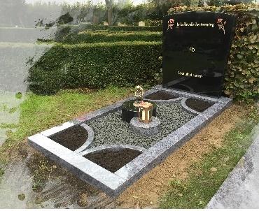 Grafstenen met Bronzen beeld en accessoires