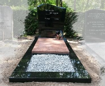 Grafsteen met rode granietendekplaat en plantvak Woerden