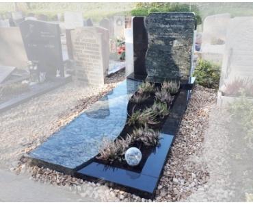 Olive green met zwart granieten grafsteen te bergschen hoek