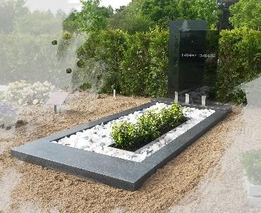 grafsteen met donkere glasplaten Alphen aan den Rijn