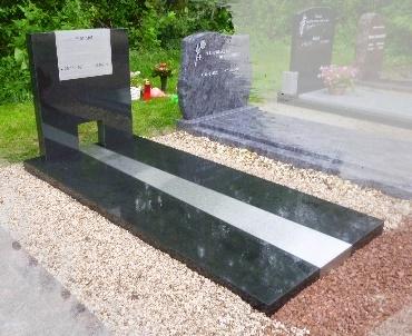 Grafstenen met Zwart graniet met RvS