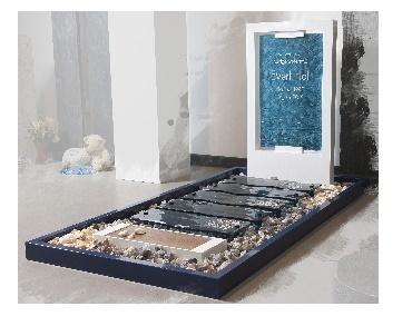 Grafstenen RVS in kleur met glas - thema zee Woerden