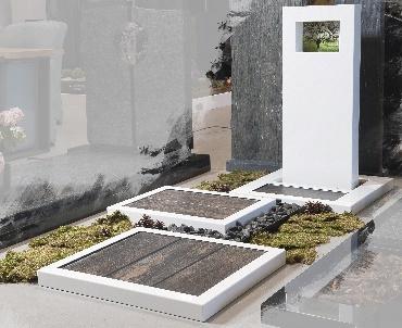 Grafsteen RVS in witte kleur met glas Betuwe