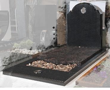 Grafsteen Graniet met hart in glas