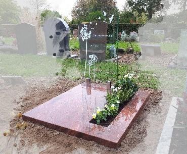 Grafsteen, Glas met natuursteen