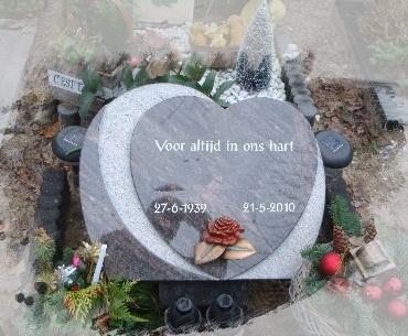 Grafsteen Granieten hart met bronzen roosje