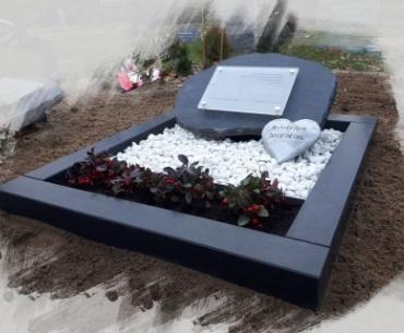 algemeen grafsteen met glas