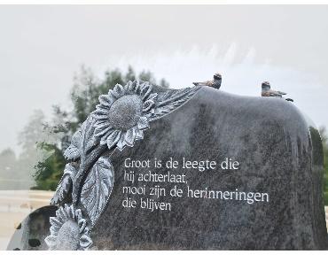 Handgehakte zonnebloemen uit granieten grafmonument