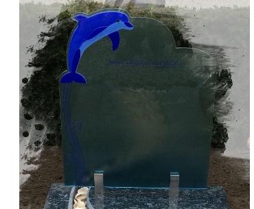 Grafsteen Dolphijn op en van glas