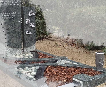 grafstenen Aluminium roosjes en vaas