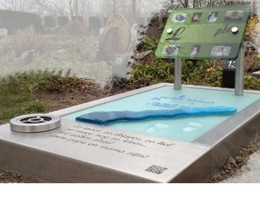 Rvs grafsteen met glas