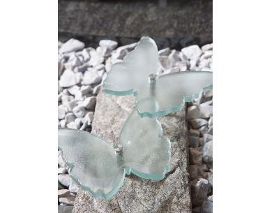 Grafstenen met Vlinders van glas op rvs