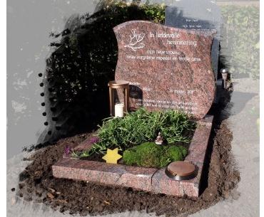 rosa dalva granieten grafsteen met bronzen accessoires